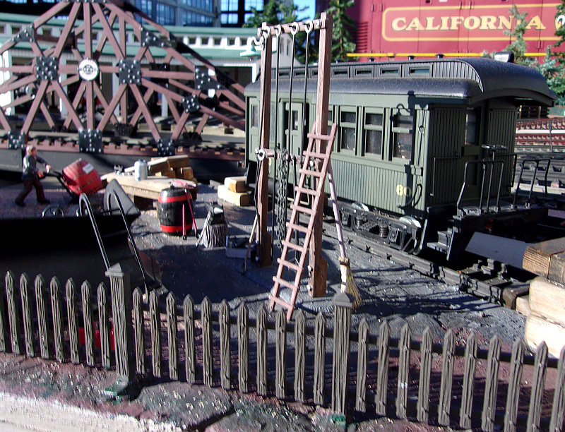 Detail on the turntable at the Mendocino Model Railroad