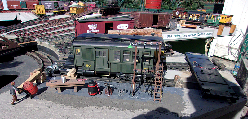 The start of the railbus repait diorama on the Mendocino Model Railroad Layout