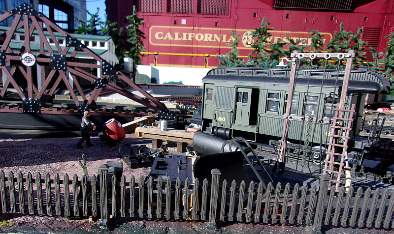 The railbus repair diorama on the Mendocino Model Railroad taking shape