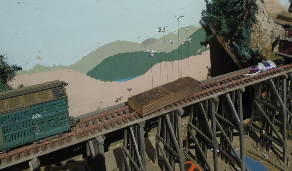 Installing pigeons on the Virgin creek trestle